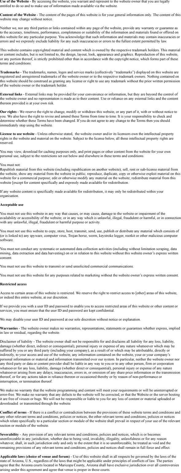 Interventions Center Gilbert Terms and Conditions Picture